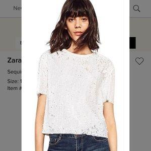 Zara basic sequin t-shirt size xs
